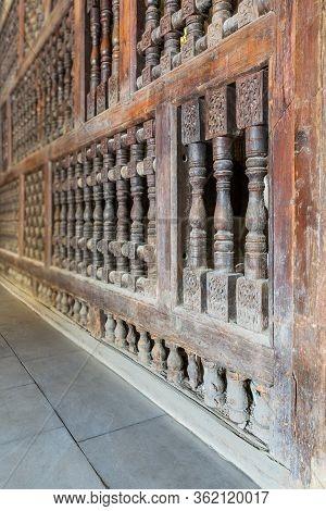 Angle View Of Interleaved Wooden Ornate Wall - Mashrabiya - At Abandoned Building