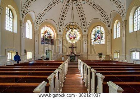 Swakopmund, Namibia - Jul 11, 2019: The German Evangelical Lutheran Church In Swakopmund, In The Nam