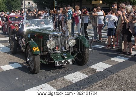 Brescia, Italy - May 19 2018: Aston Martin International 1934 Is An Old Racing Car In Rally Mille Mi