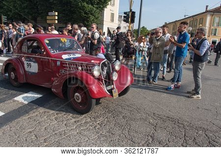 Brescia, Italy - May 19 2018: Fiat 508 Cs Mm Berlinetta 1935 Is An Old Racing Car In Rally Mille Mig