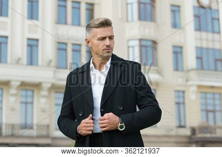 Fashion Model In Casual Style Clothes. Man Wearing Autumn Jacket. Coat Makes Man Look More Elegant.