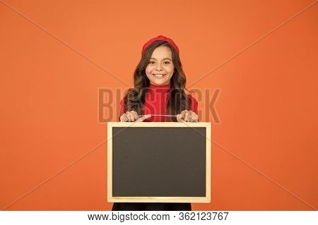 Welcome To School. Happy Child Hold School Blackboard. Little Girl Back To School. School Time. Empt
