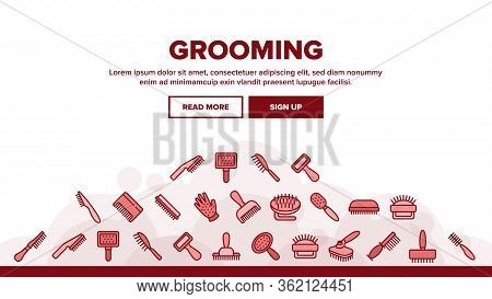 Grooming Brush For Pet Landing Web Page Header Banner Template Vector. Grooming Care Accessory In Di
