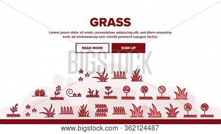 Grass Meadow Plant Landing Web Page Header Banner Template Vector. Garden Natural Glass With Mark No