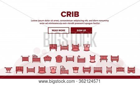 Crib Baby Infant Bed Landing Web Page Header Banner Template Vector. Wooden Crib With Hanging Toys,