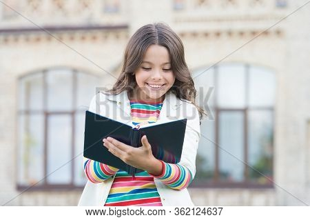Meet Kid Reporter. Little Reporter Make Notes For Article. Happy Reporter Write Journalistic Story I