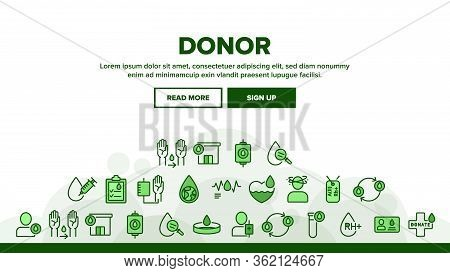 Donor Blood Donation Landing Web Page Header Banner Template Vector. Palpitations And Dizziness, Don