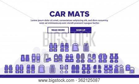 Car Mats Floor Carpet Landing Web Page Header Banner Template Vector. Car Mats, Automobile Elastic F