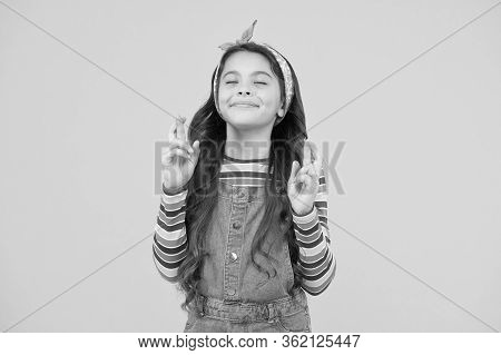 Child Dream. Hopeful Concept. Small Child With Long Hair In Casual Fashion. Hope For Best. Believe I