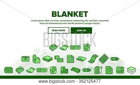 Blanket And Towel Landing Web Page Header Banner Template Vector. Electronic Blanket With Heating, F