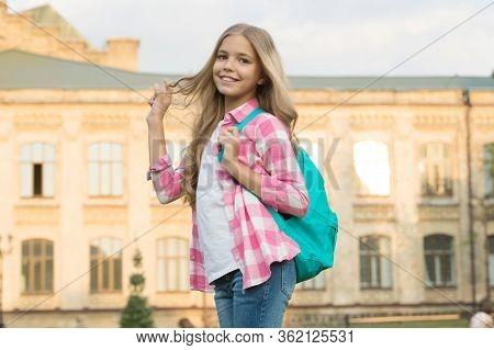 Teen With Backpack. Stylish Smiling Schoolgirl. Girl Little Fashionable Schoolgirl Carry Backpack Sc