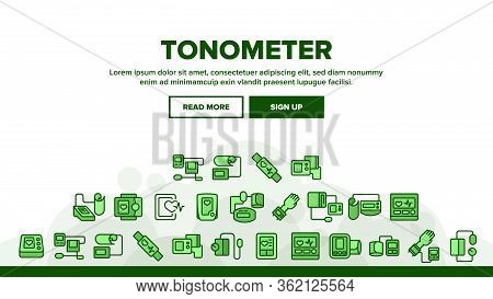 Tonometer Equipment Landing Web Page Header Banner Template Vector. Tonometer Medical Device For Mea