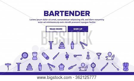 Bartender Equipment Landing Web Page Header Banner Template Vector. Bartender Shaker And Bucket With