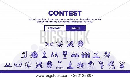 Contest Sport Activity Landing Web Page Header Banner Template Vector. Box And Run, Arm Wrestling An