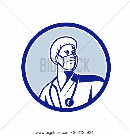 Mascot Icon Illustration Of A Medical Doctor, Nurse, Healthcare Professional Or Essential Worker Wea