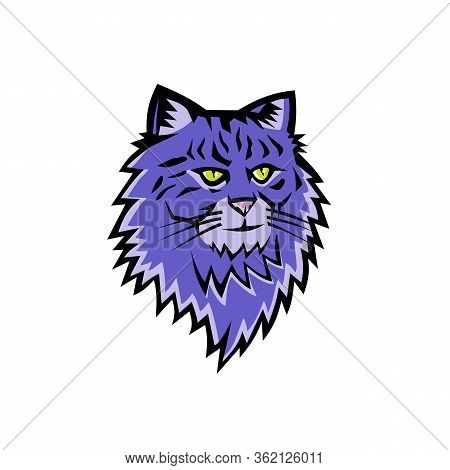 Sports Mascot Icon Illustration Of Head Of A Siberian Forest Cat, Moscow Semi-longhair, Or Neva Masq