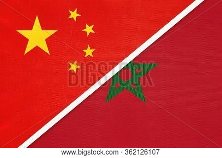 China Or Prc Vs Morocco National Flag From Textile. Relationship Between Asian And African Countries