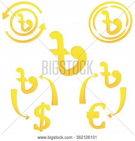 3d Set Bangladesh Taka Currency Symbol Icon Vector Illustration On A White Background