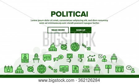Political Election Landing Web Page Header Banner Template Vector. Political Candidate Speaking On T