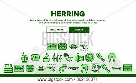 Herring Marine Fish Landing Web Page Header Banner Template Vector. Herring Sliced Piece And Fillet,
