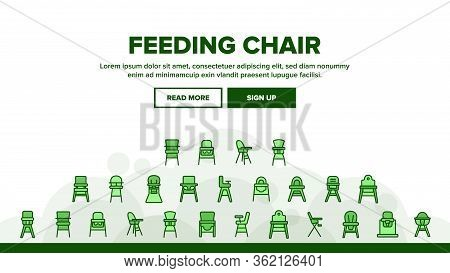 Feeding Baby Chair Landing Web Page Header Banner Template Vector. Childhood Dinner Chair, Furniture