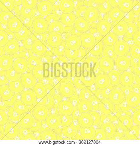 Russian Ruble Gold Coins Seamless Pattern. Decent Scattered Yellow Rub Coins. Success Concept. Russi