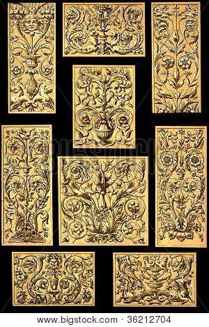 Old Engraved Golden Floral Design