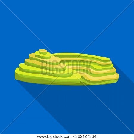 Isolated Object Of Rice And Field Symbol. Set Of Rice And Terrace Vector Icon For Stock.
