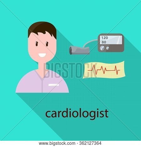 Isolated Object Of Cardiologist And Cardiovascular Sign. Collection Of Cardiologist And Cardiac Vect