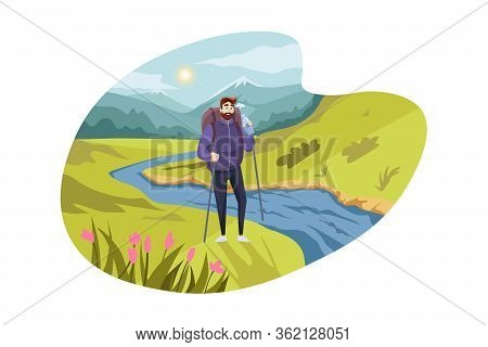 Travelling, Tourism, Nature, Hiking Concept. Young Thirsty Man Hiker Tourist With Backpack Drinks Wa