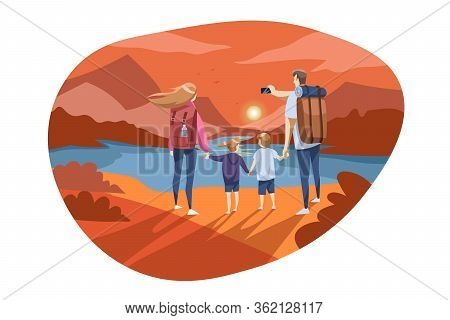 Travelling, Family Tourism, Nature, Hiking Concept. Young Family Father Mother Son Daughter Hikers S