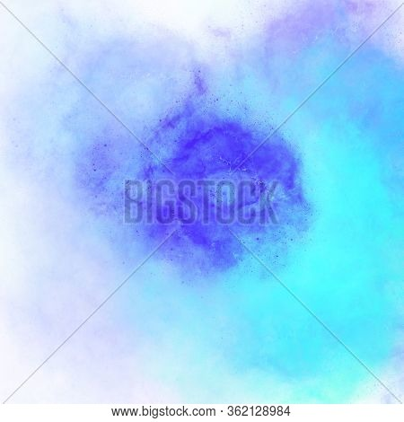 Blue Gradient Stains Hand Drawing, Watercolor Stain With Splashes. Dark Light Hue Of Blue. Abstract