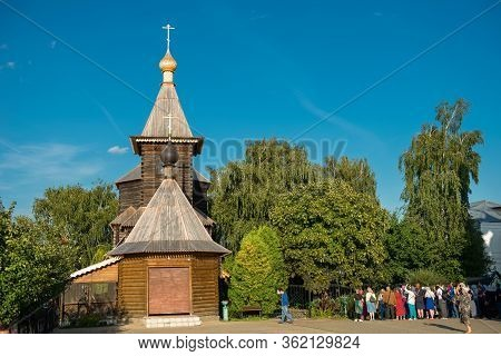 Murom, Russia - August 24, 2019: Tourists And Pilgrims Near The Church Of St. Sergius Of Radonezh In