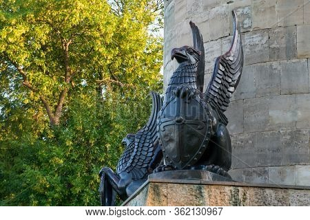Murom, Russia - August 24, 2019: Mythical Animal Griffin. Monument To Ilya Muromets In Murom On Emba