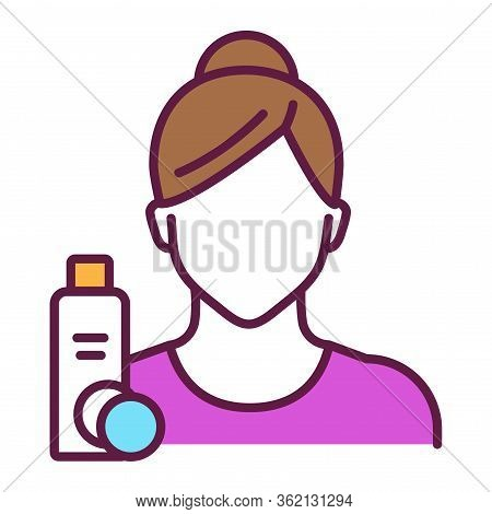 Facial Toning Line Color Icon. Faceless Girl And Tonic And Sponge. Isolated Vector Element. Outline