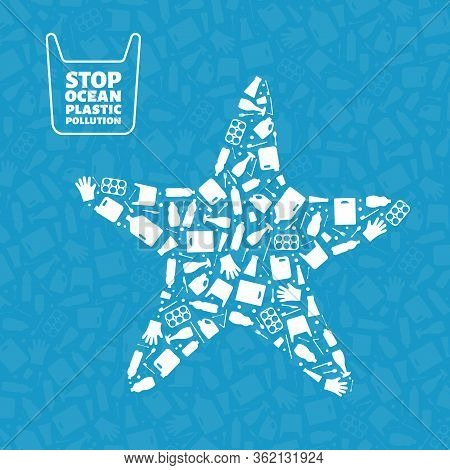 Stop Ocean Plastic Pollution Concept Vector Illustration. Starfish Marine Animal Silhouette Filled W