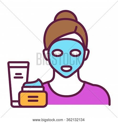 Face Mask On A Young Girl Color Line Icon. Skin Care. Moisturizing And Nourishing Skin. Isolated Vec