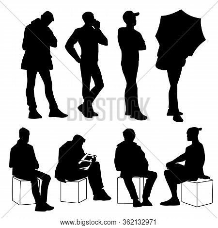 Set Of Young And Adult Men Standing And Sitting. Monochrome Vector Illustration Of Silhouettes Of Me
