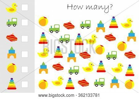 How Many Counting Game With Colorful Toys For Kids, Educational Maths Task For The Development Of Lo