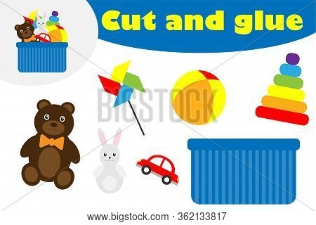 Toys Box In Cartoon Style, Education Game For The Development Of Preschool Children, Use Scissors An