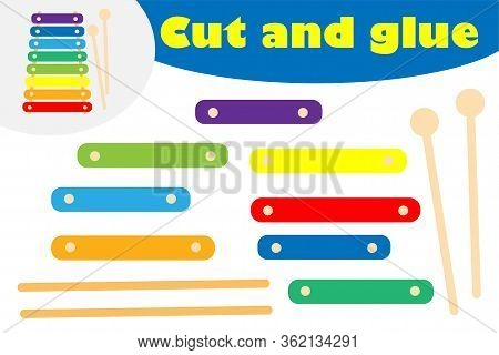 Xylophone In Cartoon Style, Education Game For The Development Of Preschool Children, Use Scissors A