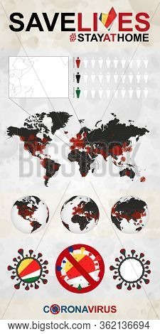 Infographic About Coronavirus In Seychelles - Stay At Home, Save Lives. Seychelles Flag And Map, Wor