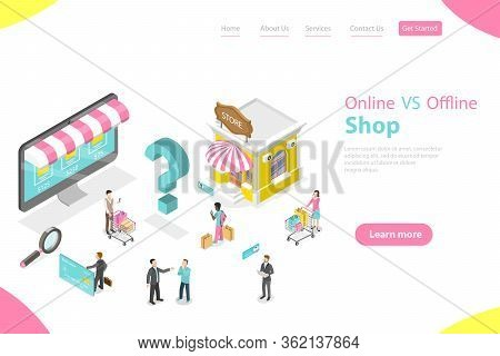 3d Isometric Flat Vector Of Comparison Of Online And Offline Businesses.