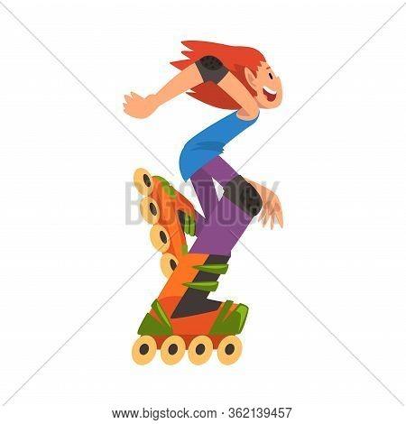 Rollerblading Girl, Happy Teenager Roller Skating, Child Outdoor Activity Cartoon Vector Illustratio