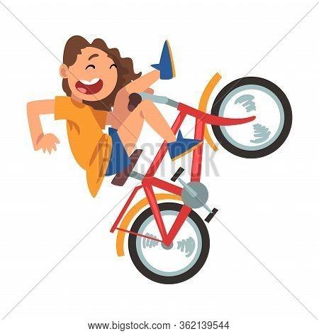 Cute Girl Falling Off Bicycle, Teenager Bicyclist, Summer Outdoor Activity Cartoon Vector Illustrati