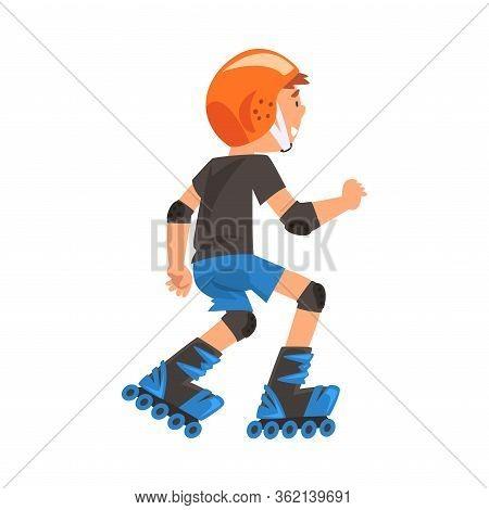 Rollerblading Boy, Cute Child Roller Skating, Teenager Outdoor Activity Cartoon Vector Illustration