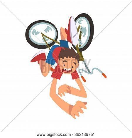 Boy Falling Off Bicycle, Teenager Bicyclist, Summer Outdoor Activity Cartoon Vector Illustration