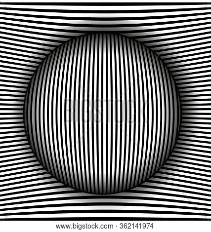 Vector Illustration Black And White Abstract Lines And Sphere