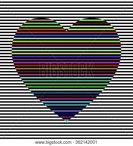 Vector Illustration Black And White Abstract Lines And Colored Heart