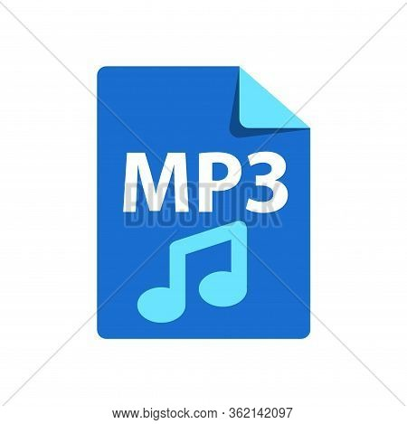 Vector Blue Icon Mp3. File Format Extensions Icon.